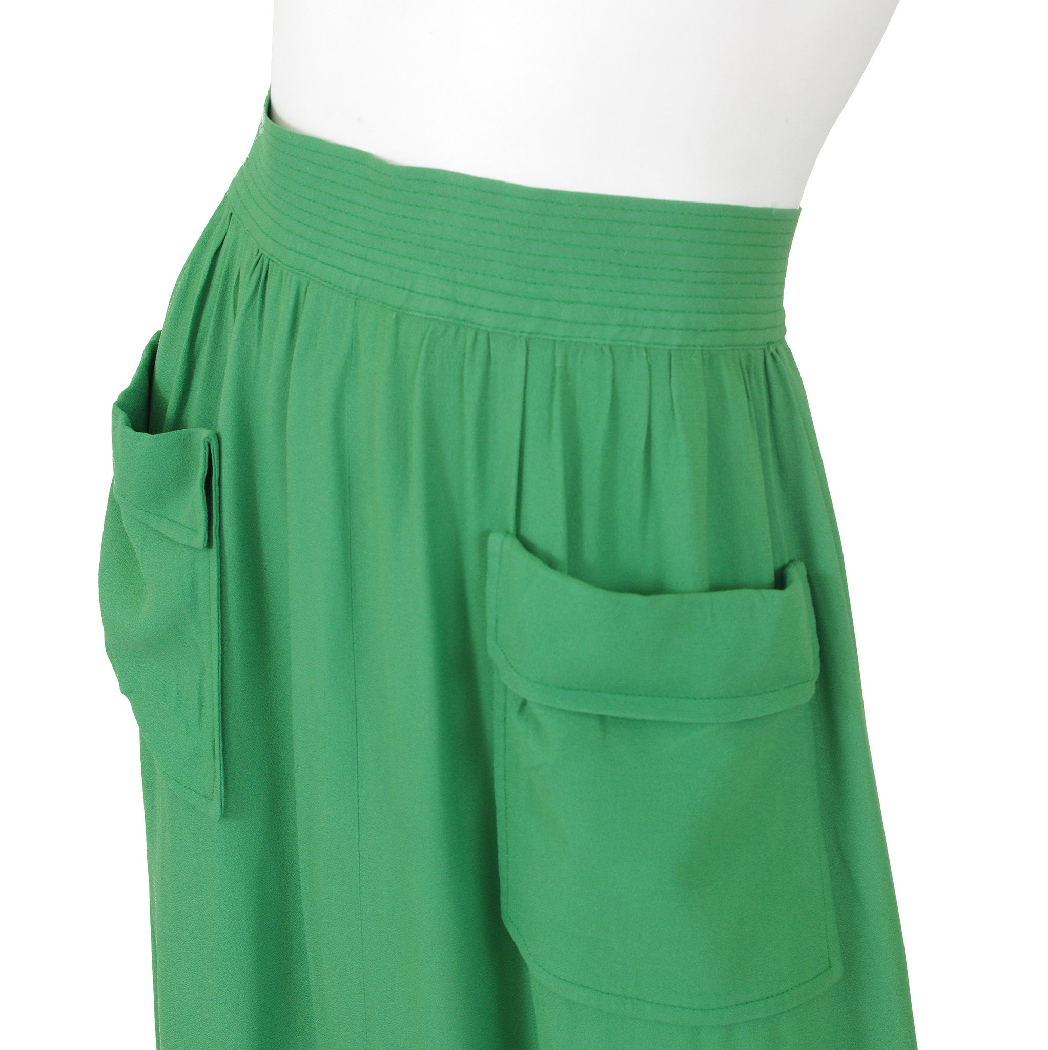 Early 1970s Green Crepe Maxi Skirt