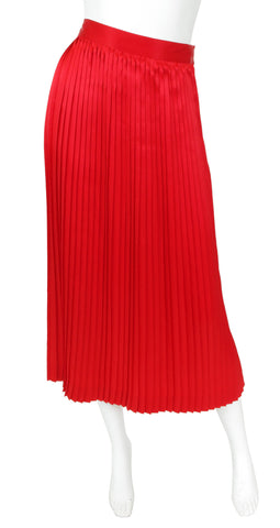 1970's Red Silk Pleated Skirt