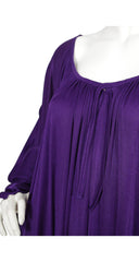 1970s English Made Slinky Purple Jersey Caftan