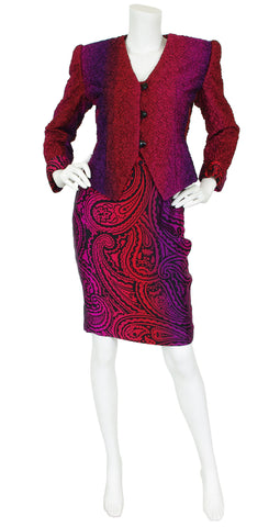 1980s Ombre Paisley Silk Three Piece Dress Suit