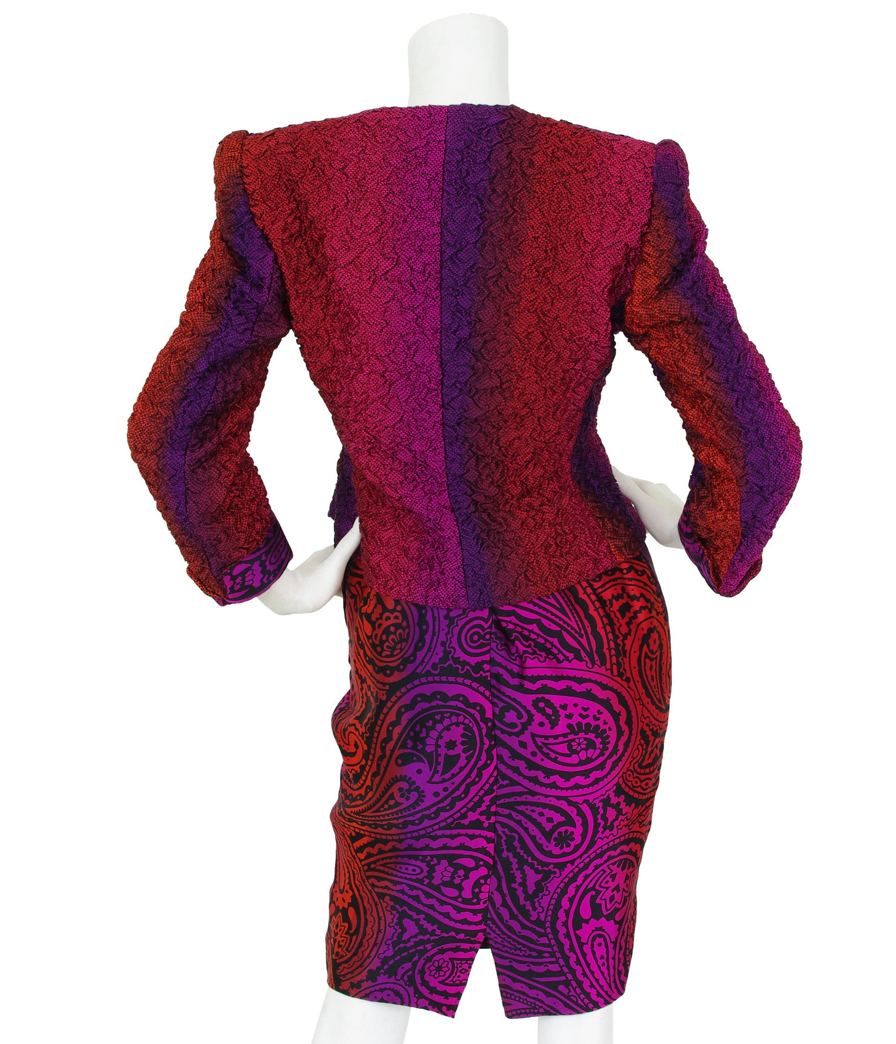 Couture 1980's Ombre Paisley Silk Three Piece Dress Suit