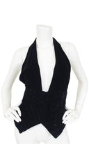 1980s Black Quilted Velvet Plunge Neck Halter Top