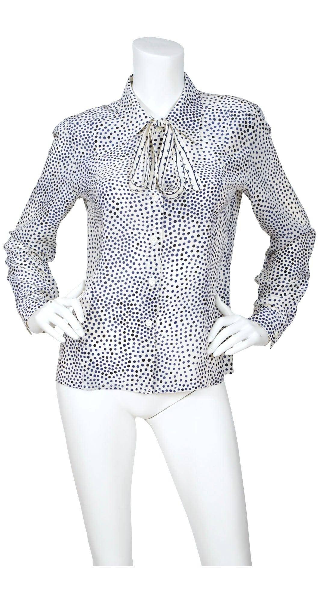 1970s Cream Polka-Dot Silk Ascot Blouse