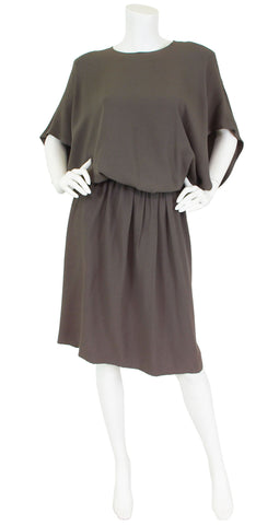 Early 1980's Grey Crepe Blouson Dress