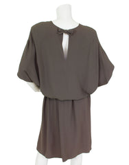 Early 1980s Grey Crepe Blouson Dress