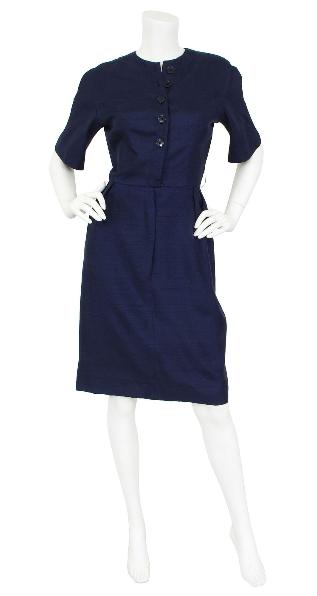 Junior Sophisticates 1950s Navy Raw Silk Dress
