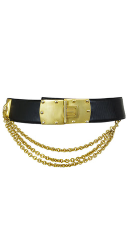 1985 Documented Black Leather & Gold Belt