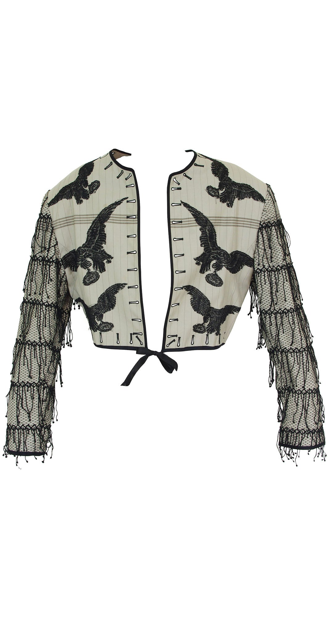 1987 Documented Men's Lace Raven Tassel Wool Jacket