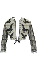 1990s Men's Lace Raven Tassel Wool Jacket