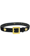 1980s Hammered Gold Signature Heart Black Suede Belt