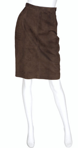 1980s Brown Suede Knee-Length Pencil Skirt