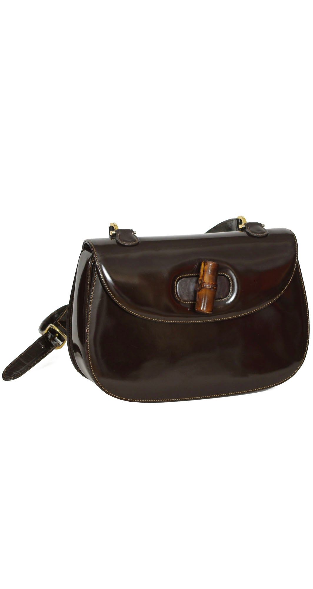 1970s Iconic Bamboo Clasp Brown Patent Leather Shoulder Bag