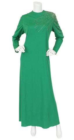1960s Rhinestone Starburst Green Jersey Evening Dress