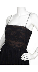 1970s Black Lace Nude Illusion Evening Gown