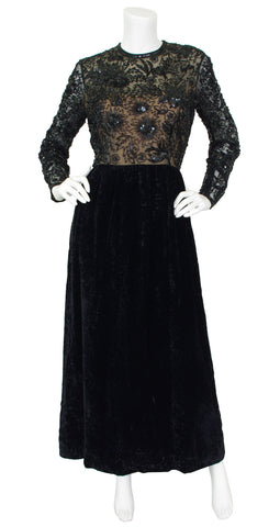 1960s Black Beaded Sheer Illusion Devore Velvet Gown