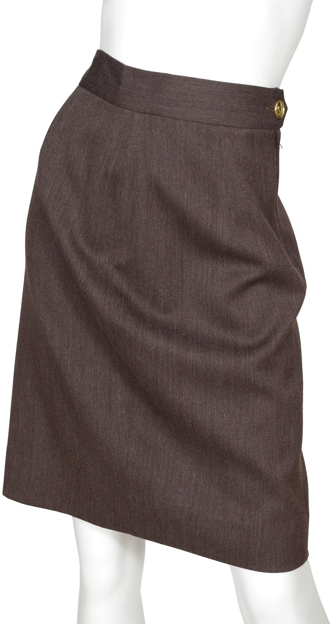 1990s Cheap and Chic Brown Wool Skirt Suit