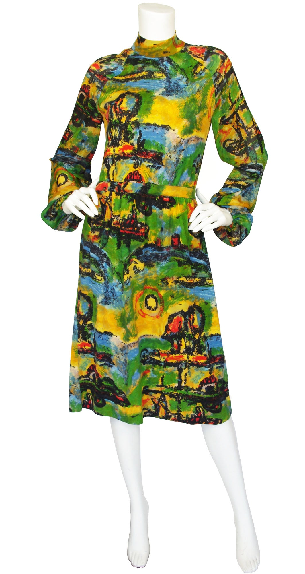 1970s Impressionist Wool Jersey & Silk Balloon Sleeve Dress