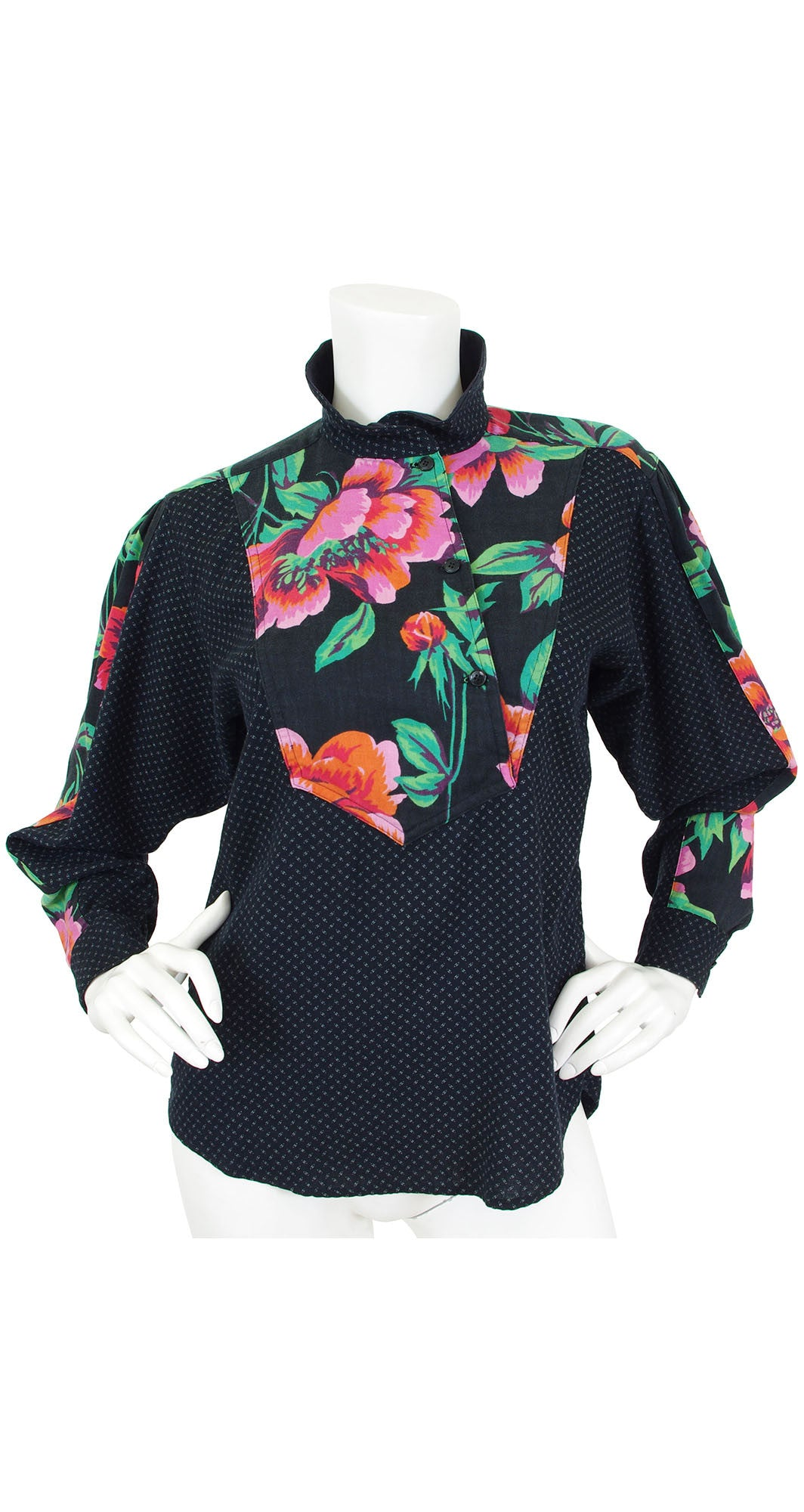 1980s Floral Accent Wool Blouse
