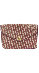 1970s Burgundy Monogram Canvas Envelope Clutch