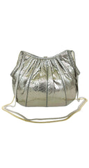 1980s Silver Metallic Snakeskin Evening Bag