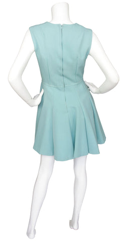 1960s Quality Mod Baby Blue & Cream Wool Dress