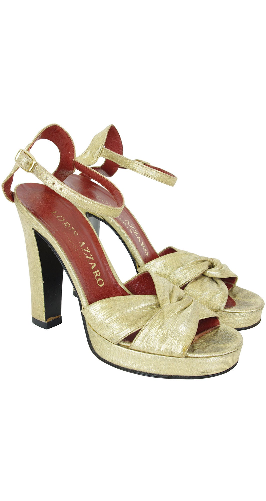 1970s Gold Metallic Ankle Strap Platform Shoes