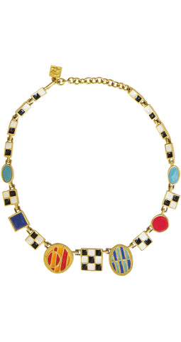 1980s Modernist Enamel Gold Plated Signed Necklace