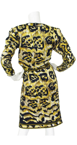 1980's Leopard Print Cotton Top & Skirt Set