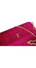 1970s Fuchsia Cut Velvet Clutch Bag