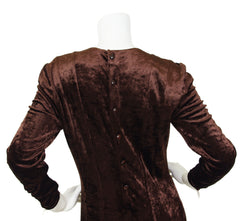 1980s Chic Brown Velvet Silk Cuff Dress