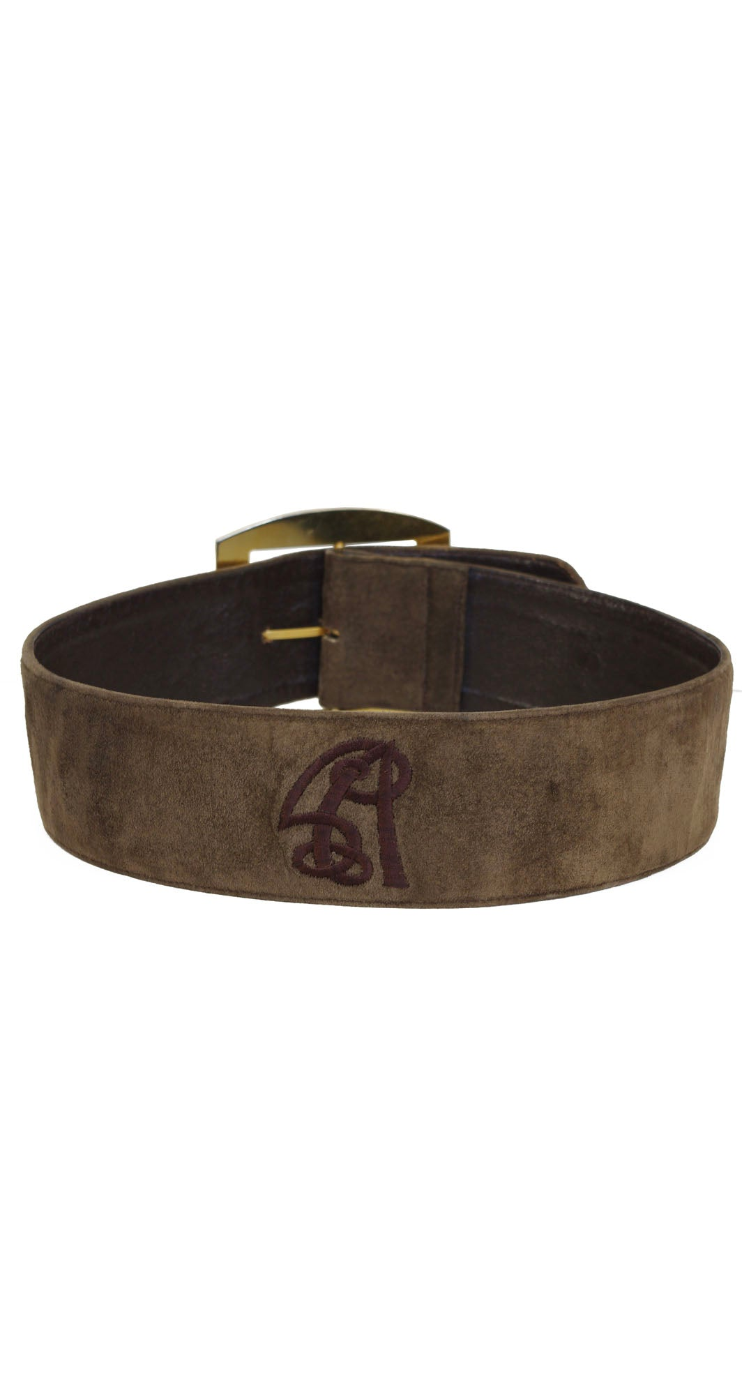 1980s Monogram Brown Suede Wide Waist Belt