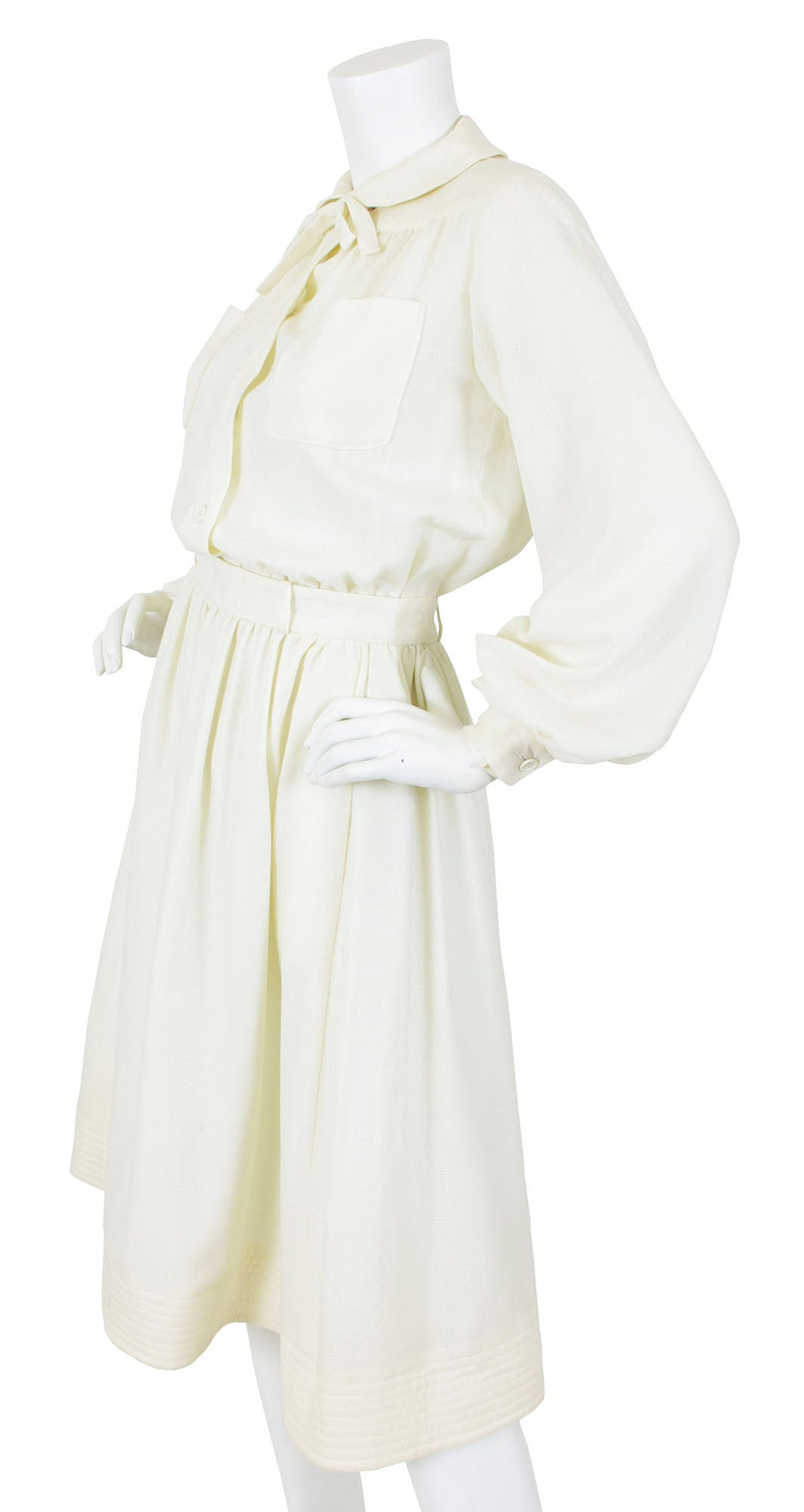 1970's Cream Wool Knit Blouse & Skirt Set