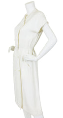 1970s Chic Cream Linen Day Midi Dress