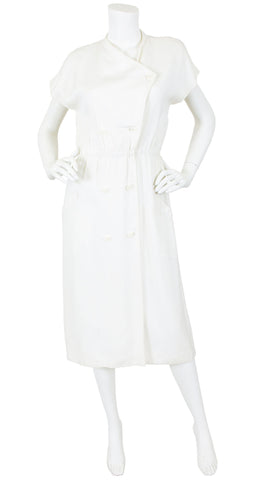 1970's Chic Cream Linen Day Midi Dress