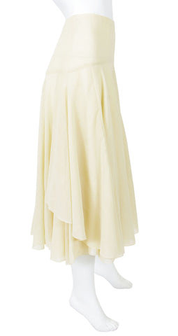 1970's Flowy Cream Gauze High Waisted Midi Skirt