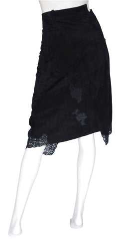 2000 John Galliano Black Suede & Lace Asymmetrical Skirt