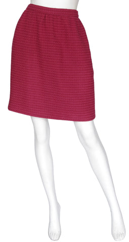 1970s Classic Burgundy Wool Tweed Skirt