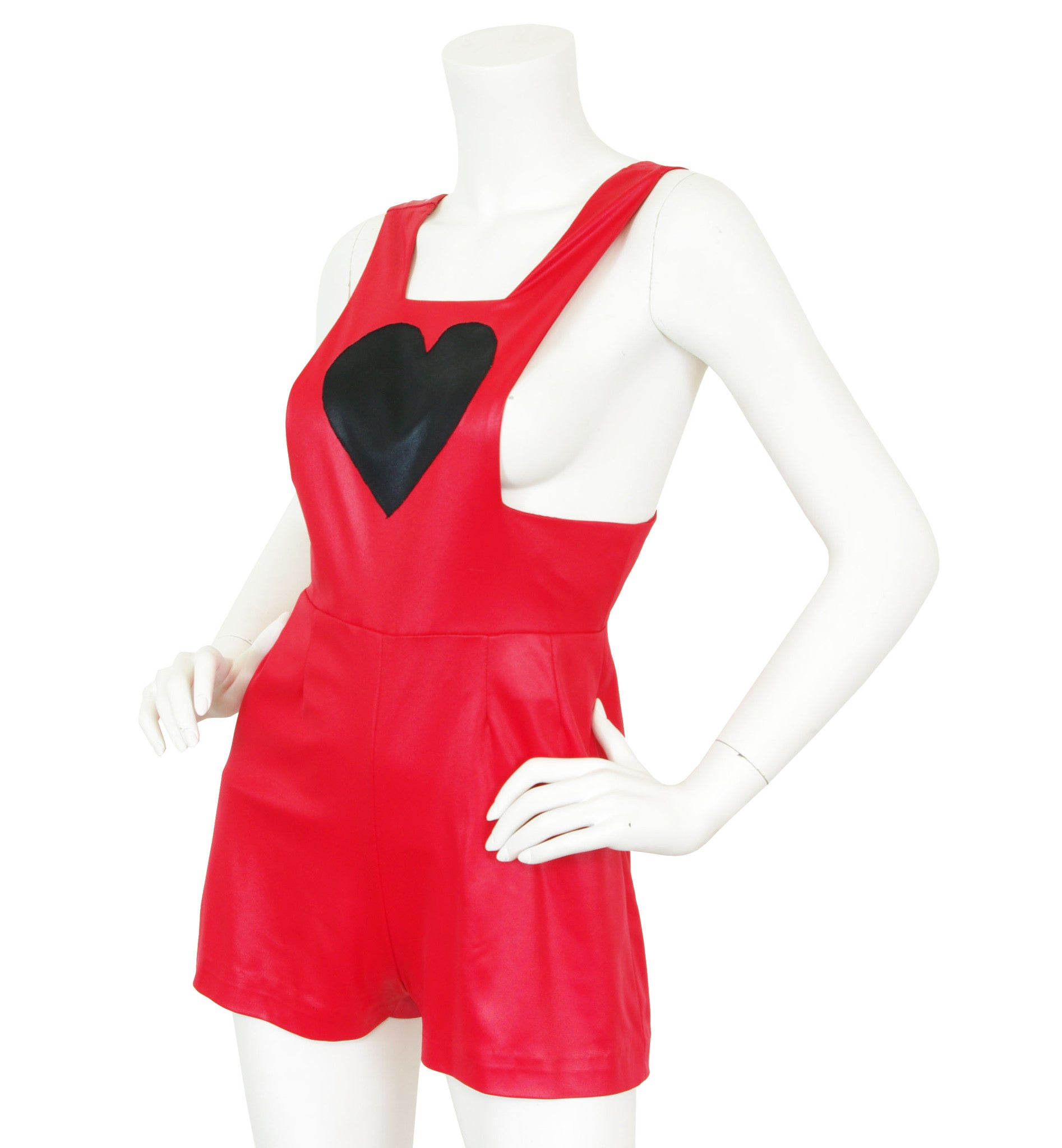 Red Heart Applique Wet Look Romper