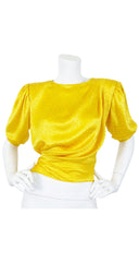 1986 Documented Yellow Polka-Dot Silk Puff Sleeve Blouse