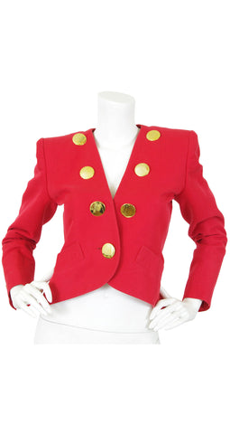 1988 S/S Documented Red Cotton Gold Button Blazer