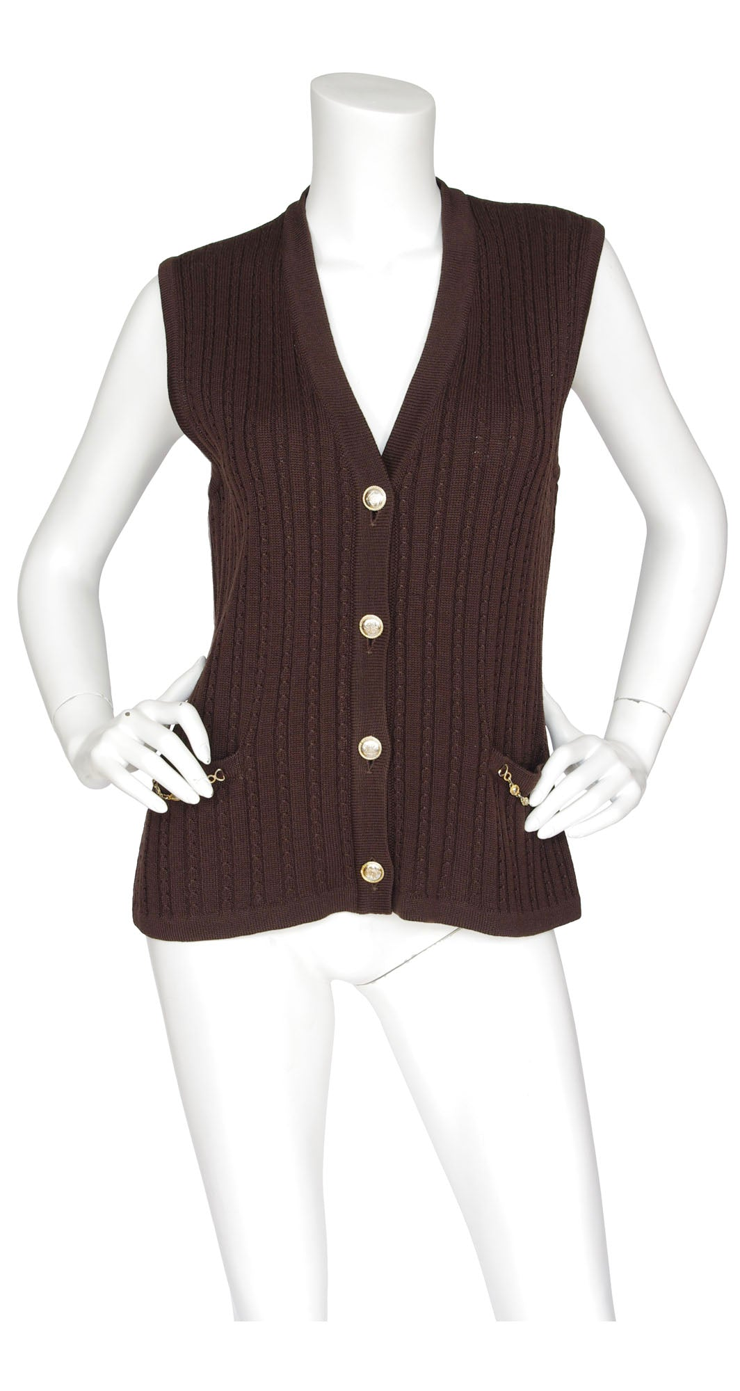 1970s Brown Wool Cable Knit Sweater Vest