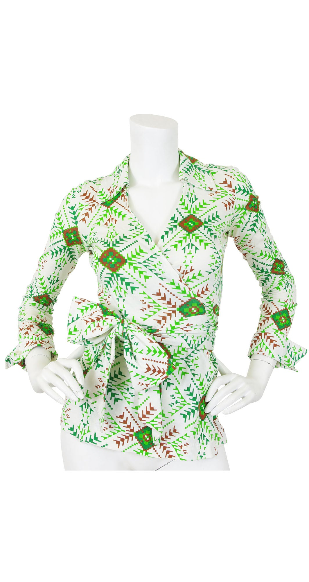 1970s Aztec Print Large Bow Wrap Top