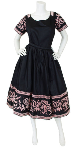 1950's Black Polished Cotton Full Skirt Set