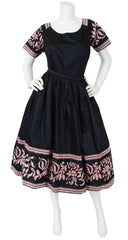 1950s Black Polished Cotton Full Skirt Set