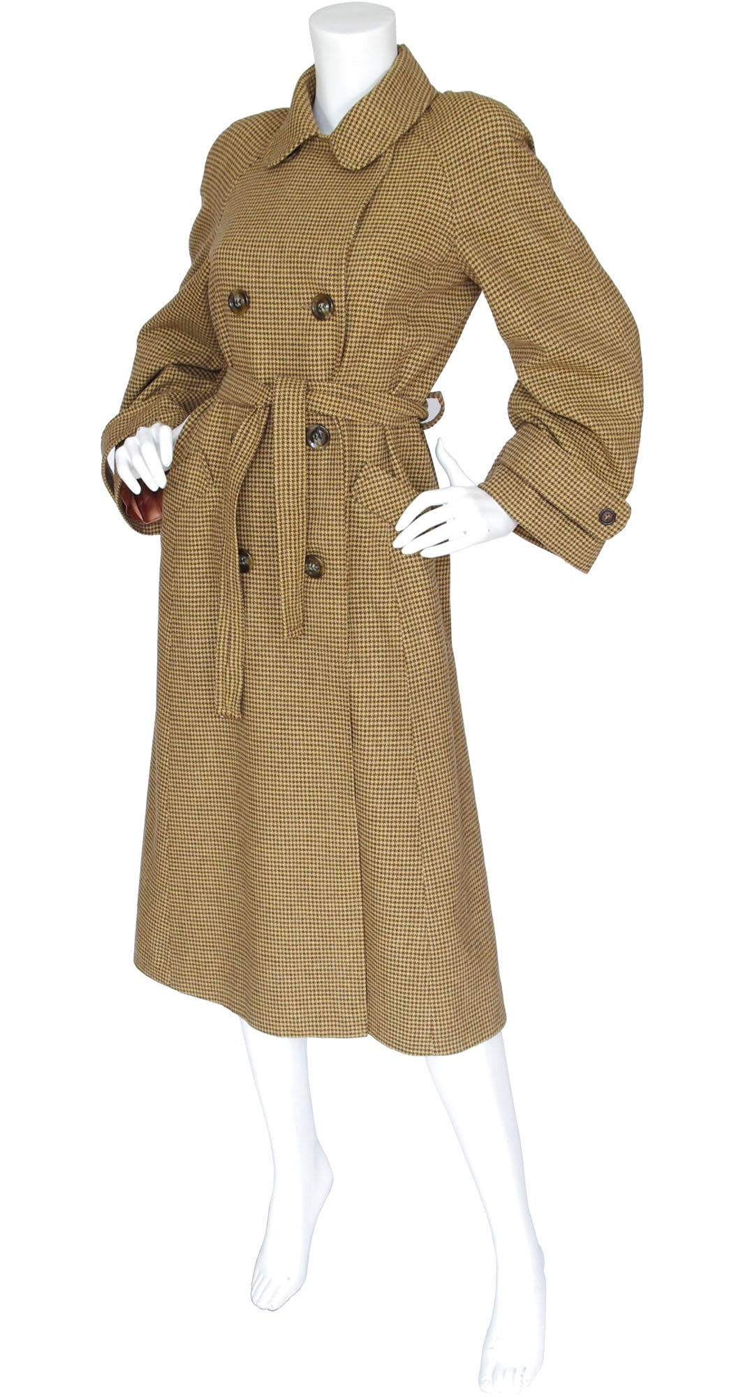1970s does 1940s Beige Houndstooth Wool Trench Coat