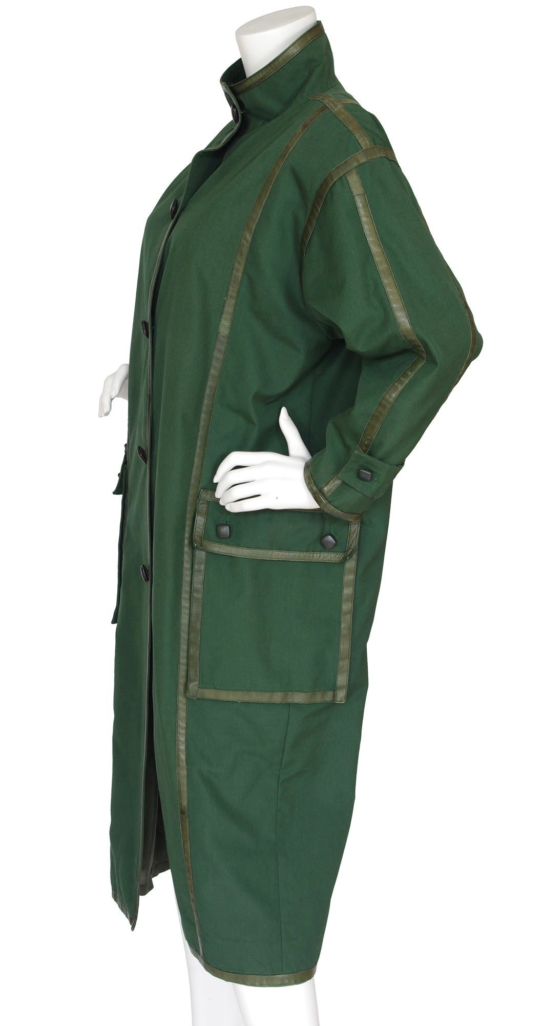 1980s Green Cotton & Leather Trim Oversized Coat