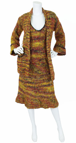 1970s English Knit Wool Three Piece Ensemble