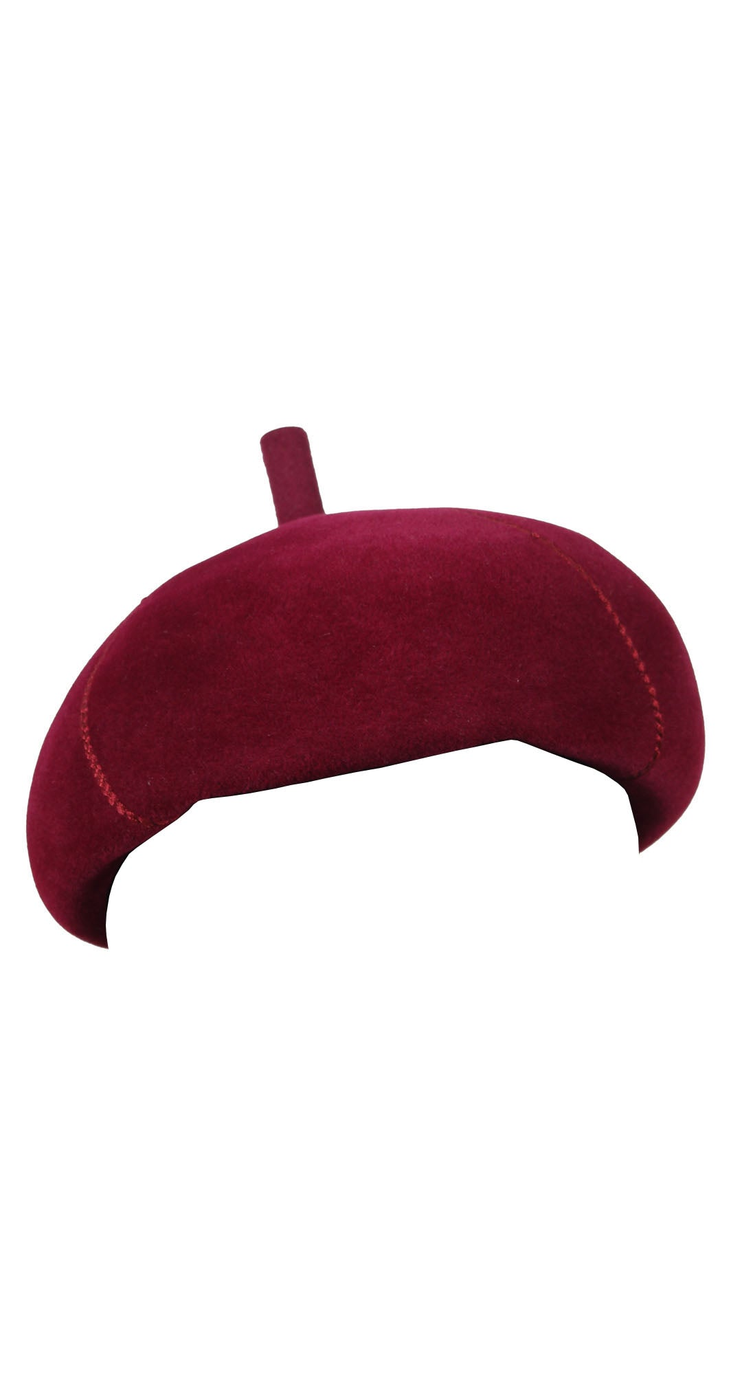 1960s Mod Burgundy Rabbit Felt Beret Hat