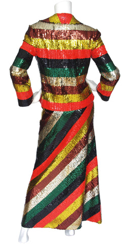 1970s Rainbow Striped Sequin Jacket & Maxi Skirt Set