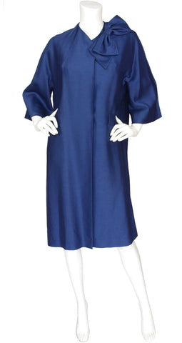 1950s Cobalt Blue Raw Silk Coat w/ Large Bow